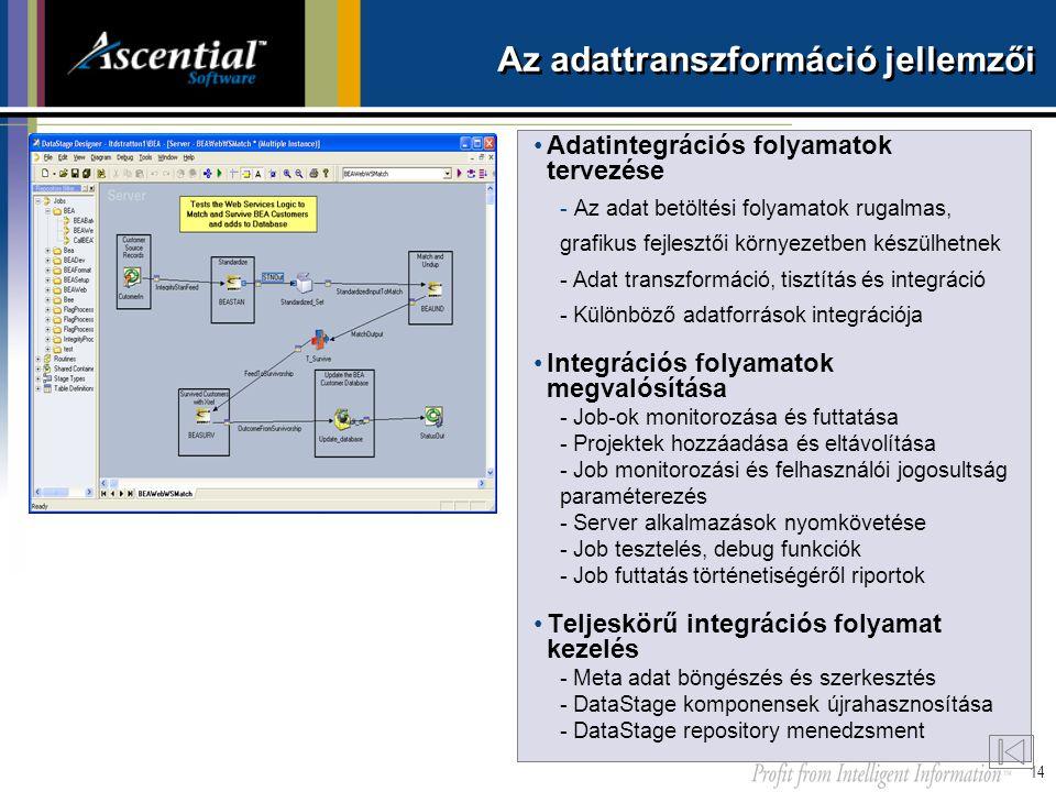 14 Az adattranszformáció jellemzői •Adatintegrációs folyamatok tervezése -Az adat betöltési folyamatok rugalmas, grafikus fejlesztői környezetben kész