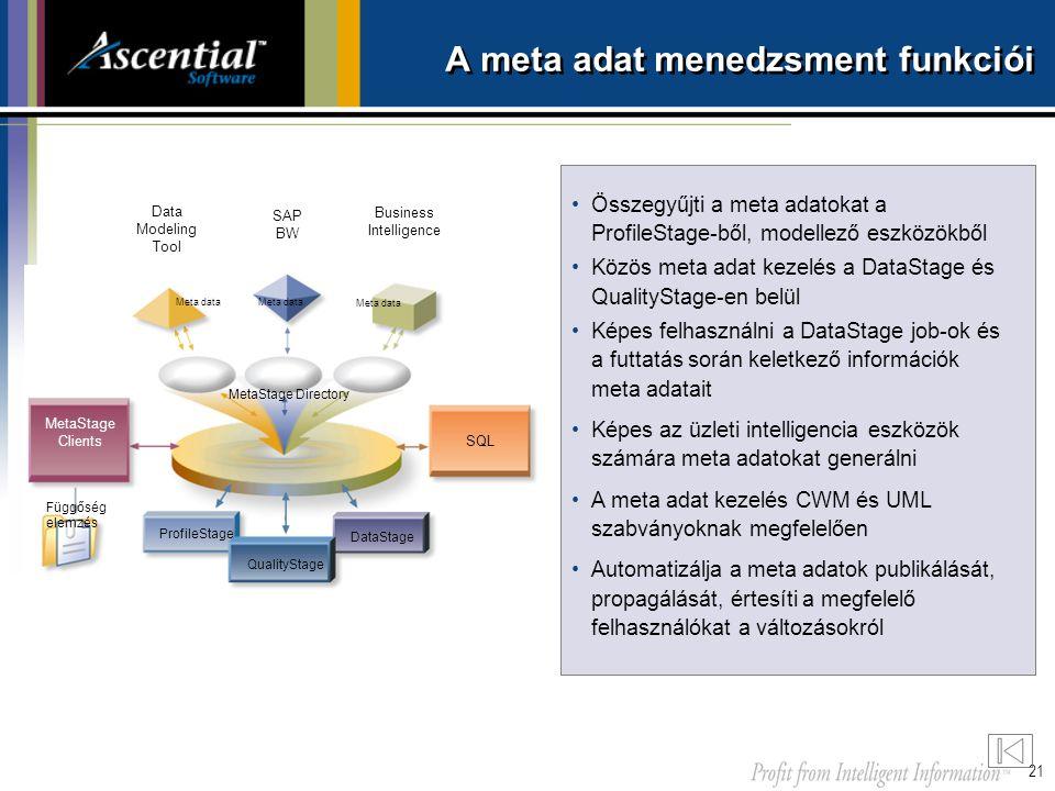 21 •Összegyűjti a meta adatokat a ProfileStage-ből, modellező eszközökből •Közös meta adat kezelés a DataStage és QualityStage-en belül •Képes felhasz