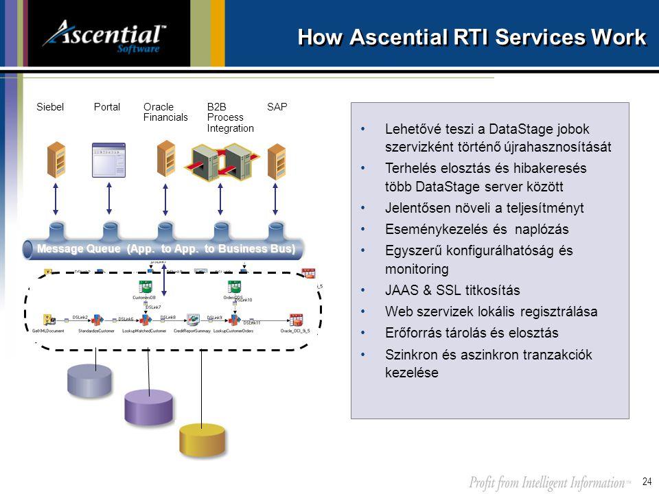 24 How Ascential RTI Services Work •Lehetővé teszi a DataStage jobok szervizként történő újrahasznosítását •Terhelés elosztás és hibakeresés több Data