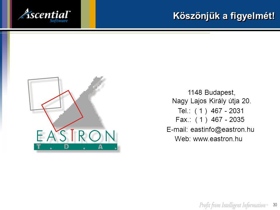 30 Köszönjük a figyelmét! 1148 Budapest, Nagy Lajos Király útja 20. Tel.: ( 1 ) 467 - 2031 E-mail: eastinfo@eastron.hu Web: www.eastron.hu Fax.: ( 1 )