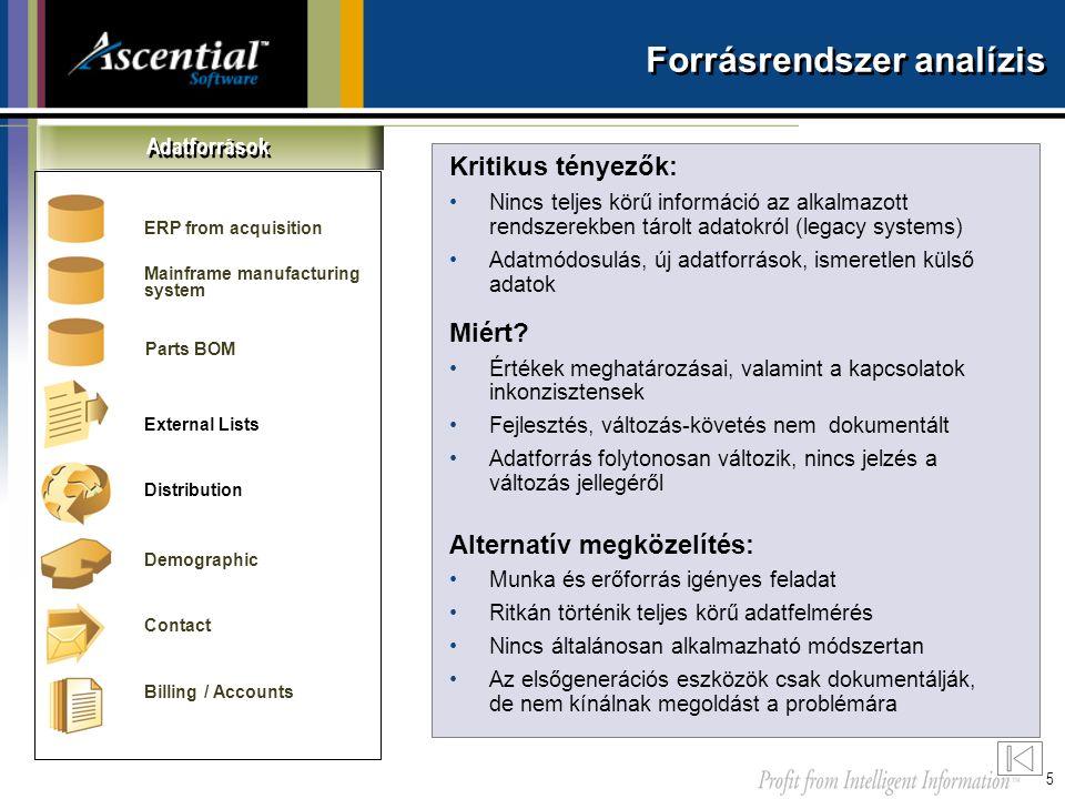 5 Forrásrendszer analízis Kritikus tényezők: •Nincs teljes körű információ az alkalmazott rendszerekben tárolt adatokról (legacy systems) •Adatmódosul