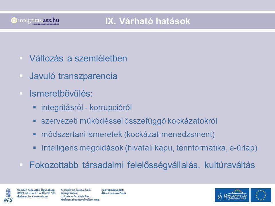 IX. Várható hatások  Változás a szemléletben  Javuló transzparencia  Ismeretbővülés:  integritásról - korrupcióról  szervezeti működéssel összefü