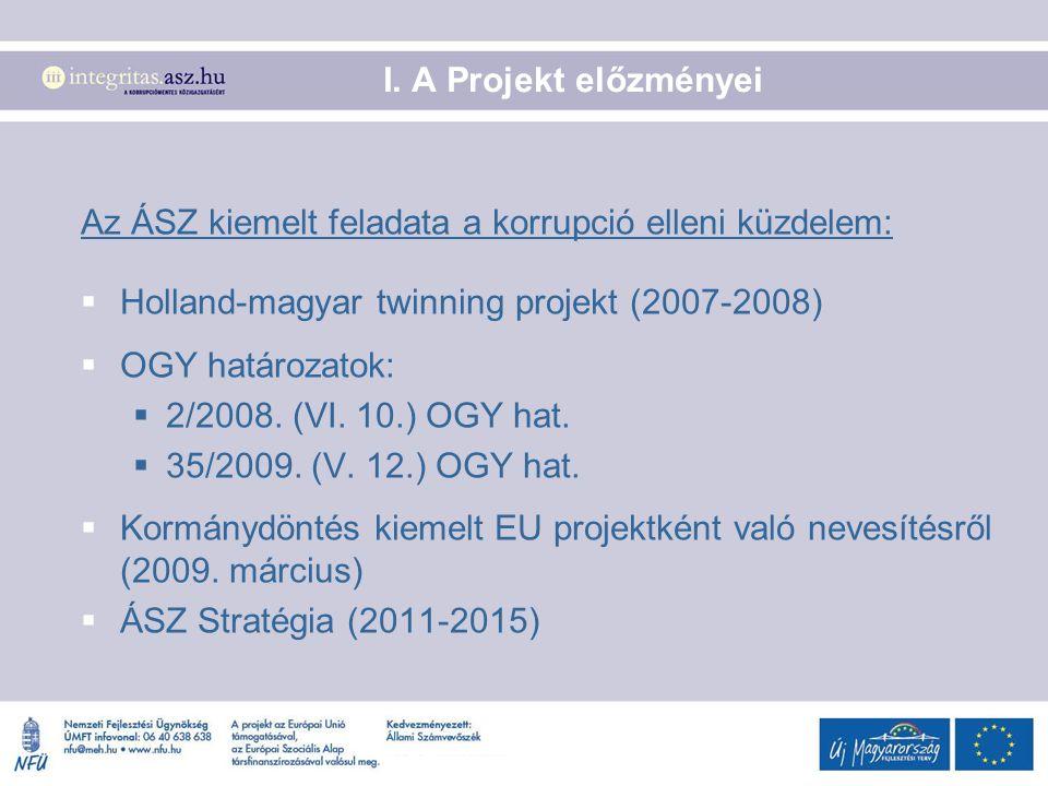 I. A Projekt előzményei Az ÁSZ kiemelt feladata a korrupció elleni küzdelem:  Holland-magyar twinning projekt (2007-2008)  OGY határozatok:  2/2008