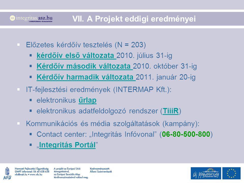 VII. A Projekt eddigi eredményei  Előzetes kérdőív tesztelés (N = 203)  kérdőív első változata 2010. július 31-ig kérdőív első változata  Kérdőív m