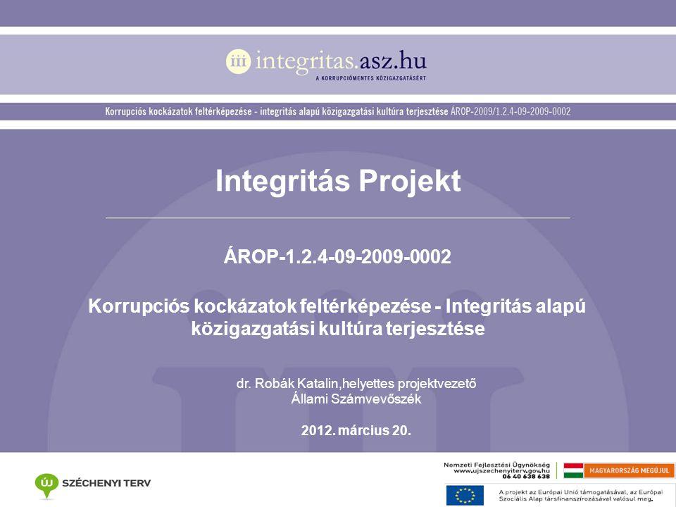 Integritás Projekt ÁROP-1.2.4-09-2009-0002 Korrupciós kockázatok feltérképezése - Integritás alapú közigazgatási kultúra terjesztése dr. Robák Katalin