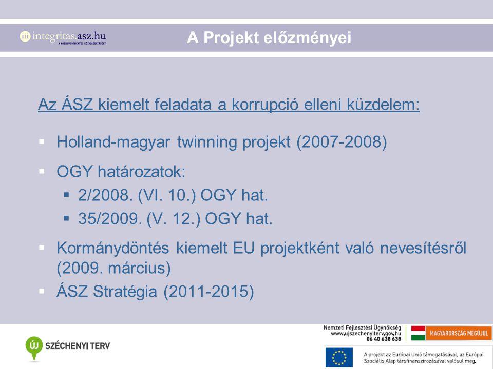 A Projekt előzményei Az ÁSZ kiemelt feladata a korrupció elleni küzdelem:  Holland-magyar twinning projekt (2007-2008)  OGY határozatok:  2/2008. (