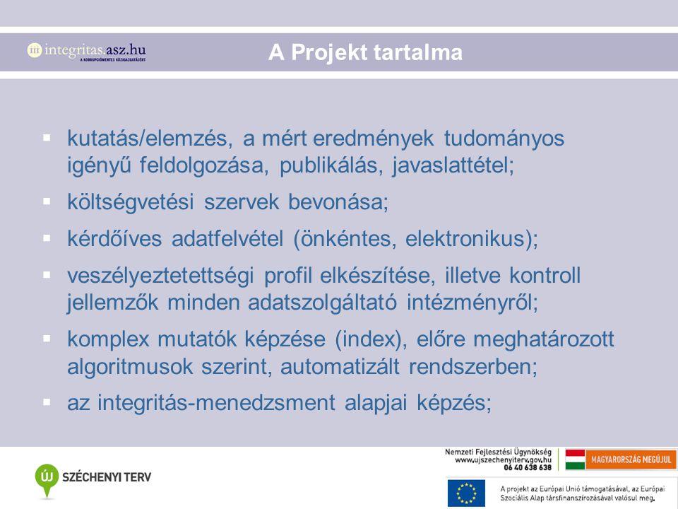 A Projekt tartalma  kutatás/elemzés, a mért eredmények tudományos igényű feldolgozása, publikálás, javaslattétel;  költségvetési szervek bevonása; 