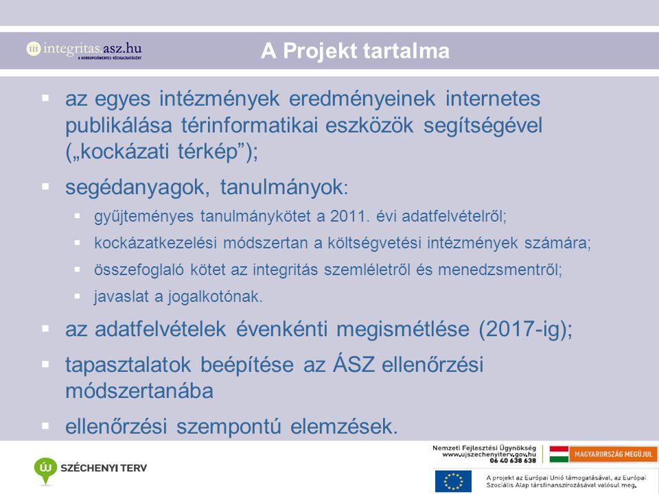 """A Projekt tartalma  az egyes intézmények eredményeinek internetes publikálása térinformatikai eszközök segítségével (""""kockázati térkép"""");  segédanya"""