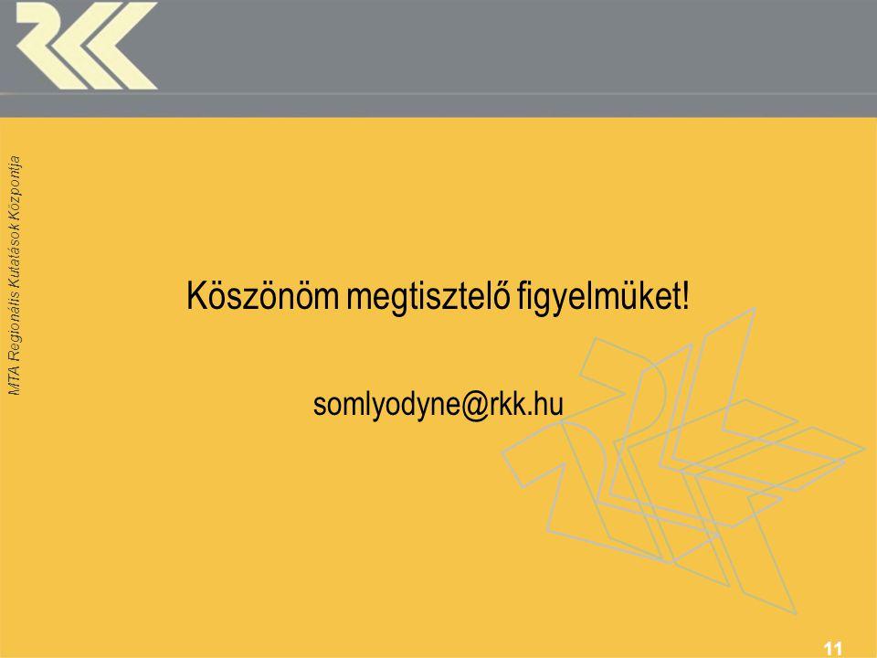 MTA Regionális Kutatások Központja 11 Köszönöm megtisztelő figyelmüket! somlyodyne@rkk.hu