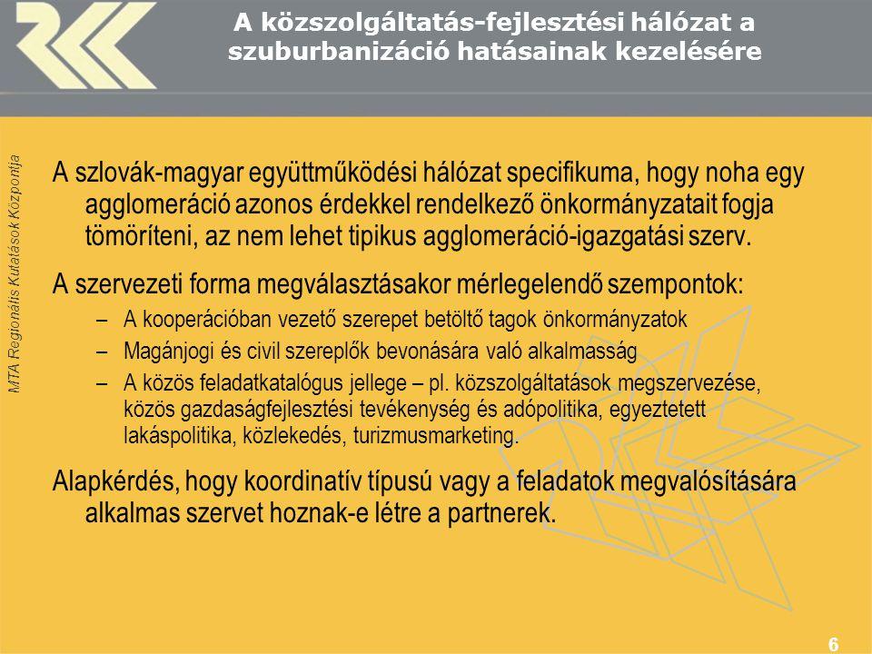 MTA Regionális Kutatások Központja 6 A közszolgáltatás-fejlesztési hálózat a szuburbanizáció hatásainak kezelésére A szlovák-magyar együttműködési hál
