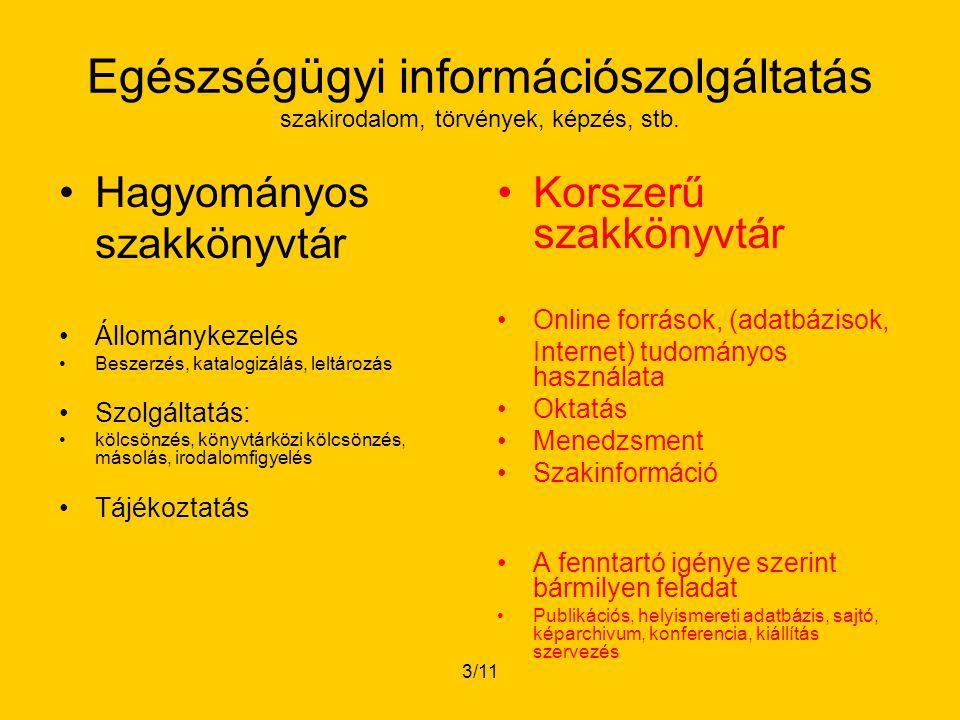 3/11 Egészségügyi információszolgáltatás szakirodalom, törvények, képzés, stb.
