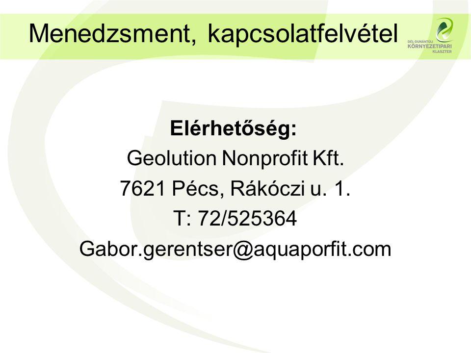 Menedzsment, kapcsolatfelvétel Elérhetőség: Geolution Nonprofit Kft.