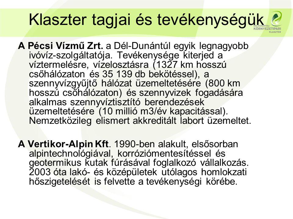 Klaszter tagjai és tevékenységük A Pécsi Vízmű Zrt.