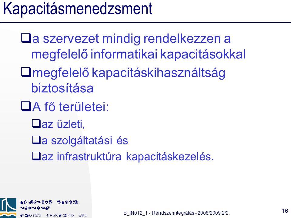SZÉCHENYI ISTVÁN EGYETEM MÛSZAKI TUDOMÁNYI KAR B_IN012_1 - Rendszerintegrálás - 2008/2009 2/2.