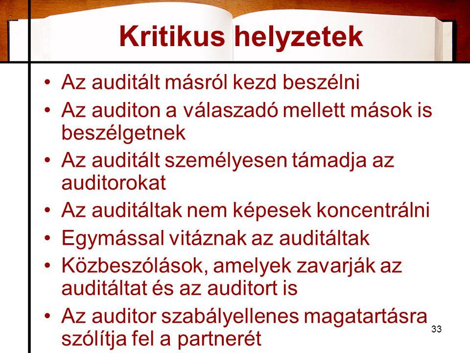 33 Kritikus helyzetek •Az auditált másról kezd beszélni •Az auditon a válaszadó mellett mások is beszélgetnek •Az auditált személyesen támadja az auditorokat •Az auditáltak nem képesek koncentrálni •Egymással vitáznak az auditáltak •Közbeszólások, amelyek zavarják az auditáltat és az auditort is •Az auditor szabályellenes magatartásra szólítja fel a partnerét