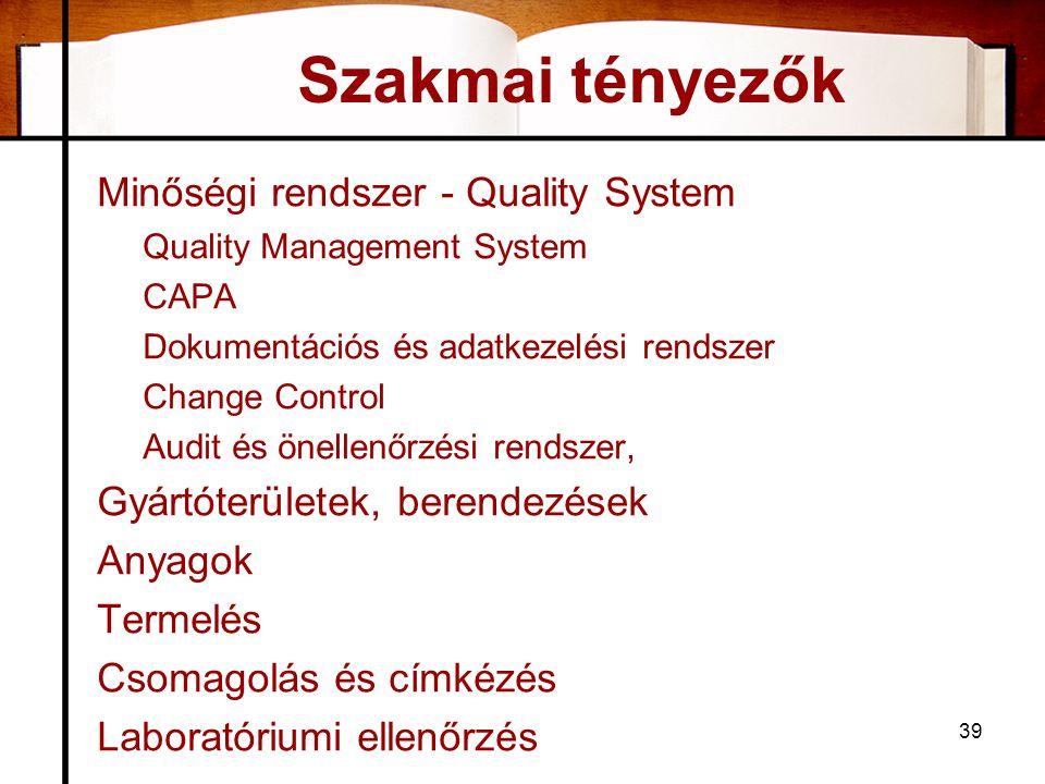 39 Szakmai tényezők Minőségi rendszer - Quality System Quality Management System CAPA Dokumentációs és adatkezelési rendszer Change Control Audit és önellenőrzési rendszer, Gyártóterületek, berendezések Anyagok Termelés Csomagolás és címkézés Laboratóriumi ellenőrzés
