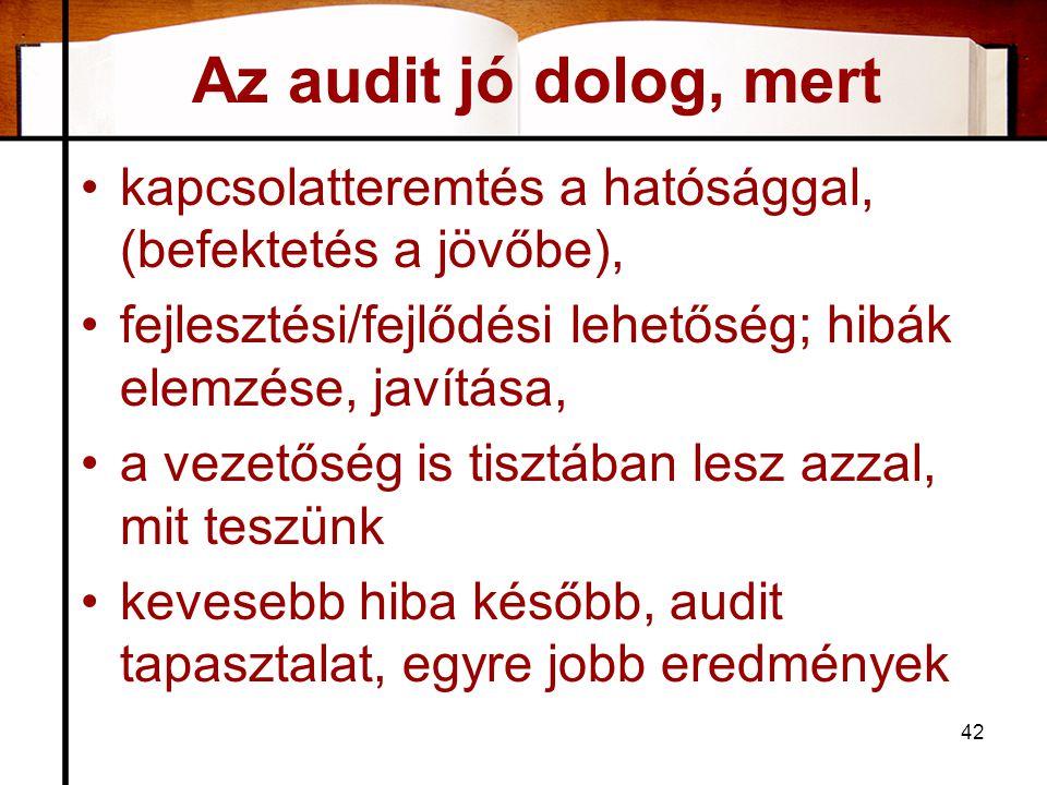 Az audit jó dolog, mert •kapcsolatteremtés a hatósággal, (befektetés a jövőbe), •fejlesztési/fejlődési lehetőség; hibák elemzése, javítása, •a vezetős