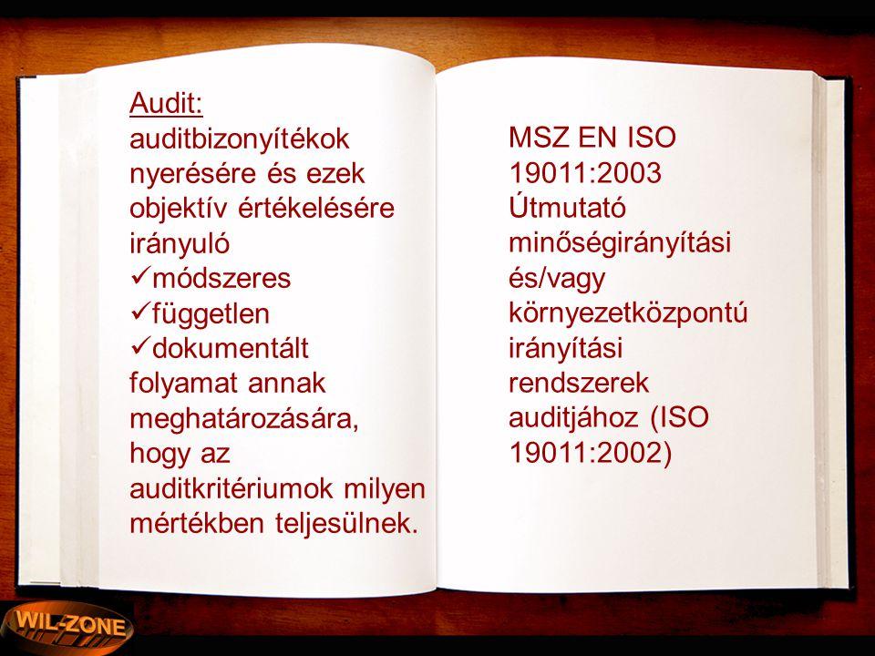 Audit: auditbizonyítékok nyerésére és ezek objektív értékelésére irányuló  módszeres  független  dokumentált folyamat annak meghatározására, hogy a