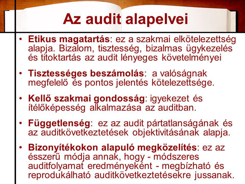 Az audit alapelvei •Etikus magatartás: ez a szakmai elkötelezettség alapja. Bizalom, tisztesség, bizalmas ügykezelés és titoktartás az audit lényeges