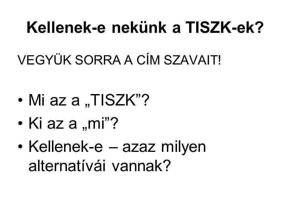 Mi az a TISZK.– I.