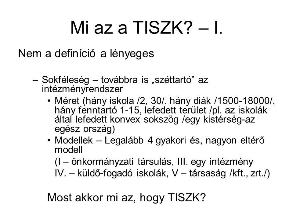 Mi az a TISZK. – I.