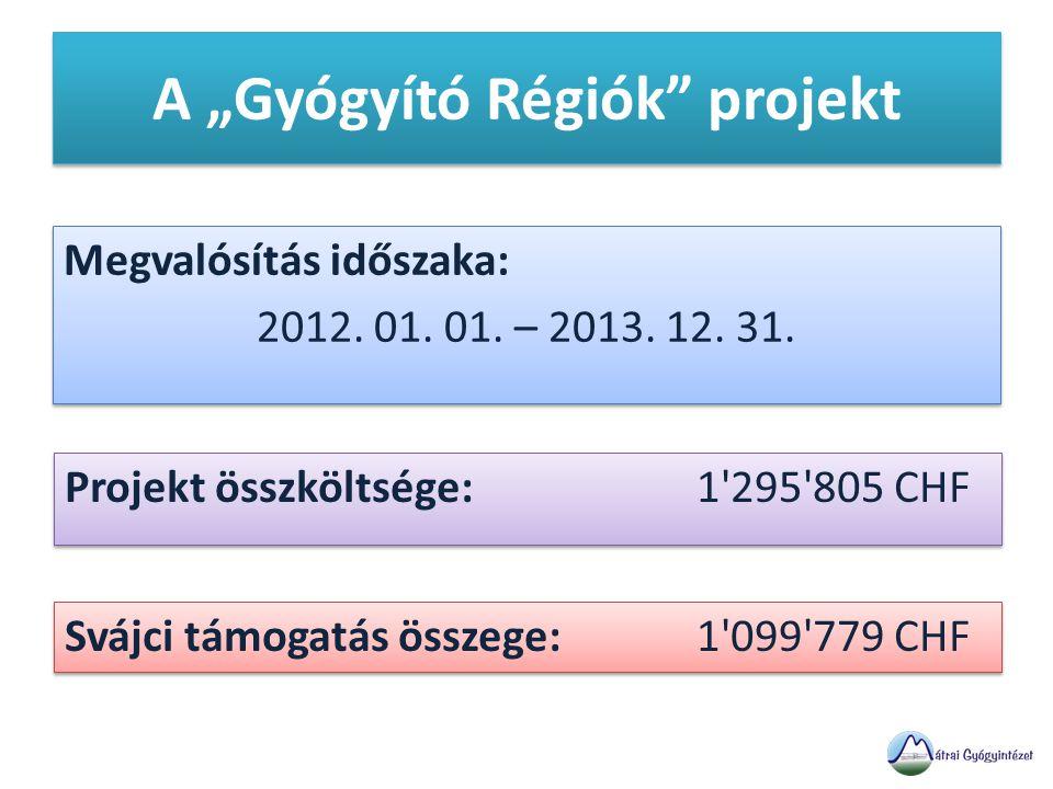 """A """"Gyógyító Régiók projekt Megvalósítás időszaka: 2012."""