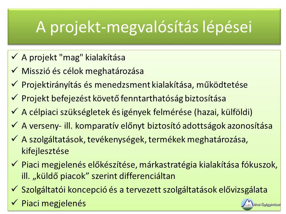 A projekt-megvalósítás lépései  A projekt mag kialakítása  Misszió és célok meghatározása  Projektirányítás és menedzsment kialakítása, működtetése  Projekt befejezést követő fenntarthatóság biztosítása  A célpiaci szükségletek és igények felmérése (hazai, külföldi)  A verseny- ill.