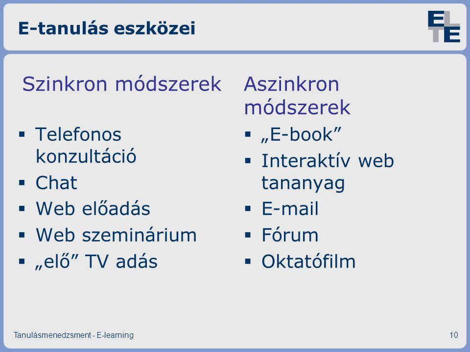 """E-tanulás eszközei Szinkron módszerek  Telefonos konzultáció  Chat  Web előadás  Web szeminárium  """"elő"""" TV adás Aszinkron módszerek  """"E-book"""" """