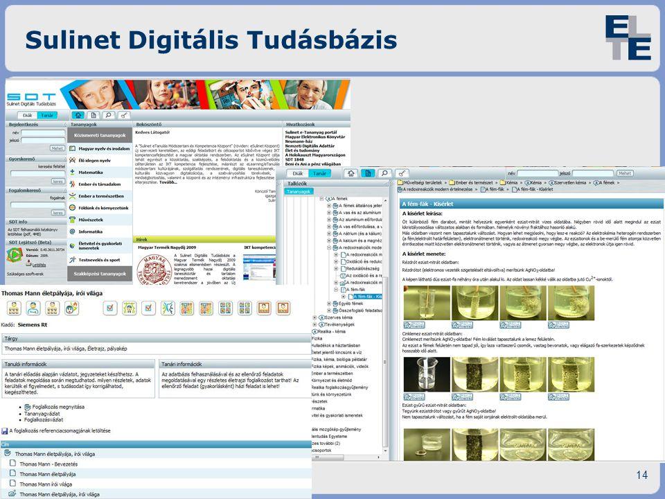 Sulinet Digitális Tudásbázis Tanulásmenedzsment - E-learning14