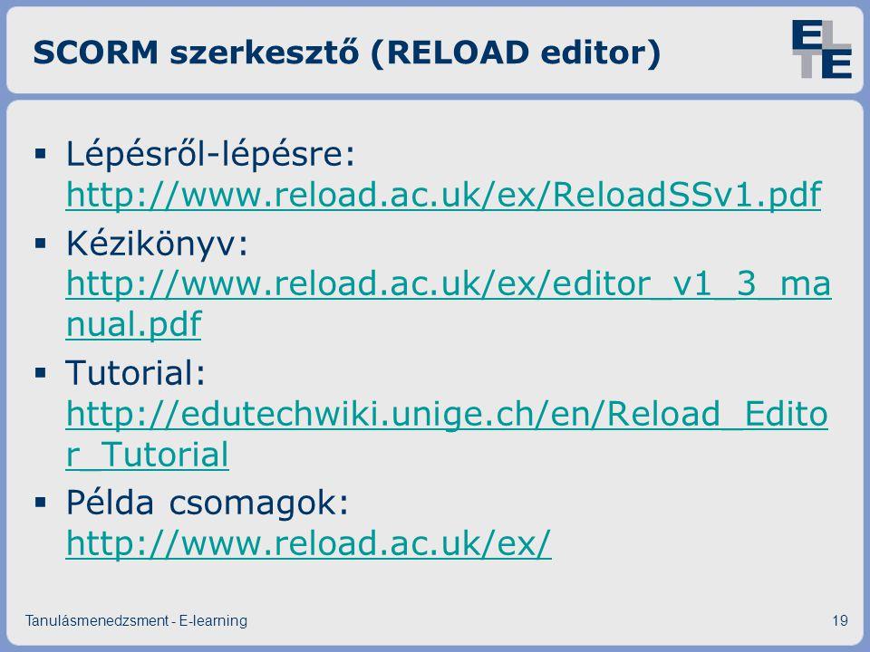 SCORM szerkesztő (RELOAD editor)  Lépésről-lépésre: http://www.reload.ac.uk/ex/ReloadSSv1.pdf http://www.reload.ac.uk/ex/ReloadSSv1.pdf  Kézikönyv: