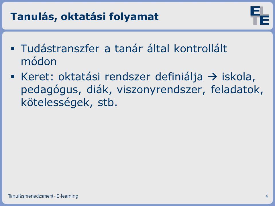 Tanulás, oktatási folyamat  Tudástranszfer a tanár által kontrollált módon  Keret: oktatási rendszer definiálja  iskola, pedagógus, diák, viszonyre