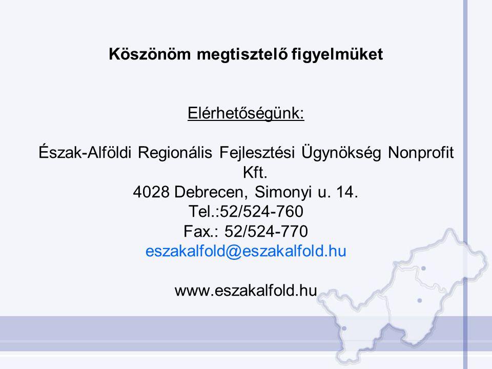 Köszönöm megtisztelő figyelmüket Elérhetőségünk: Észak-Alföldi Regionális Fejlesztési Ügynökség Nonprofit Kft. 4028 Debrecen, Simonyi u. 14. Tel.:52/5