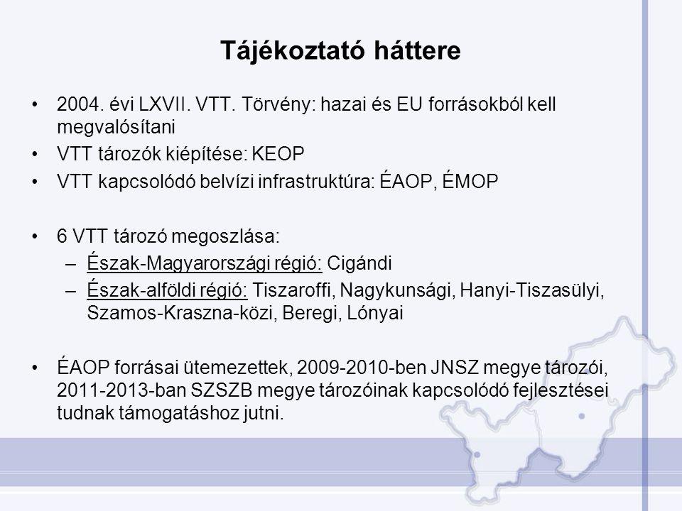 Tájékoztató háttere •2004. évi LXVII. VTT. Törvény: hazai és EU forrásokból kell megvalósítani •VTT tározók kiépítése: KEOP •VTT kapcsolódó belvízi in