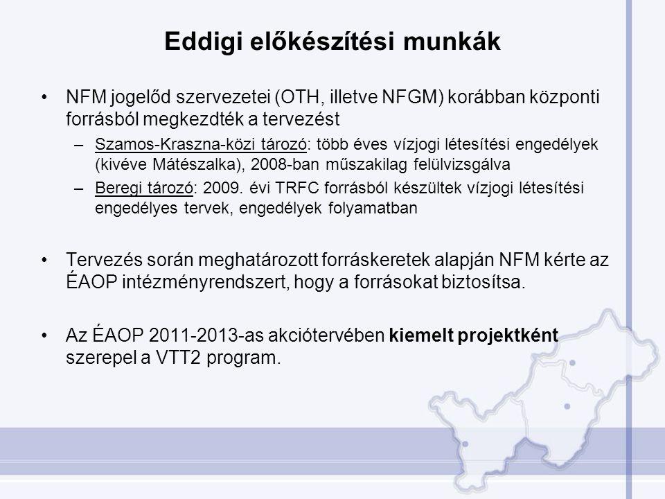 Eddigi előkészítési munkák •NFM jogelőd szervezetei (OTH, illetve NFGM) korábban központi forrásból megkezdték a tervezést –Szamos-Kraszna-közi tározó