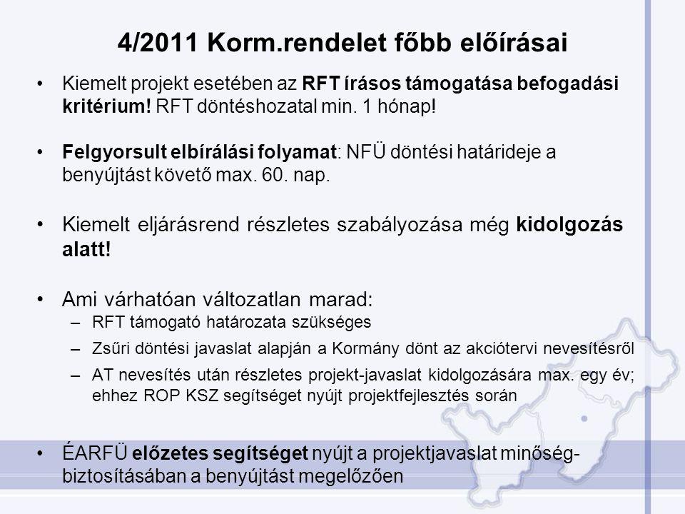 4/2011 Korm.rendelet főbb előírásai •Kiemelt projekt esetében az RFT írásos támogatása befogadási kritérium! RFT döntéshozatal min. 1 hónap! •Felgyors