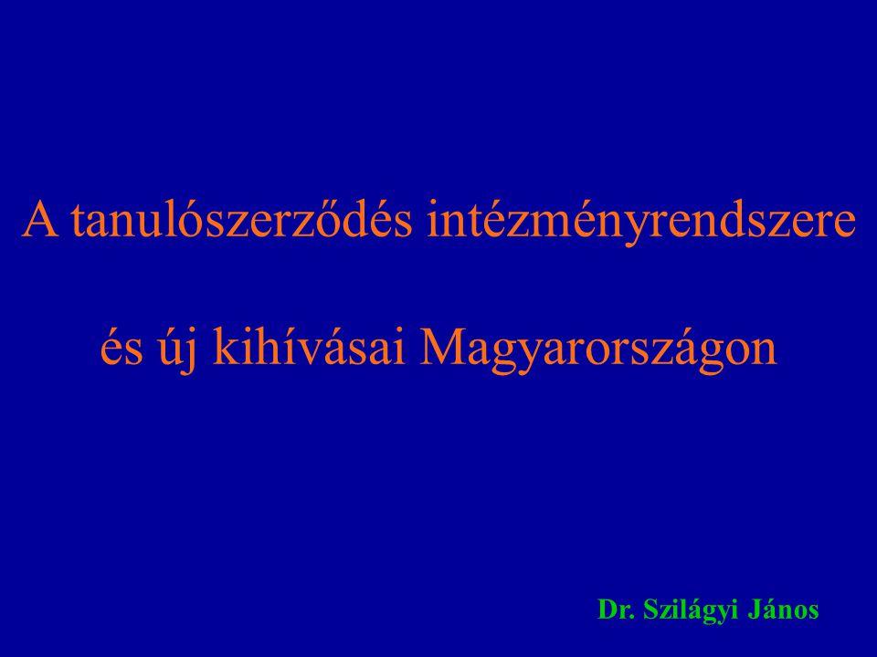 A tanulószerződés intézményrendszere és új kihívásai Magyarországon Dr. Szilágyi János