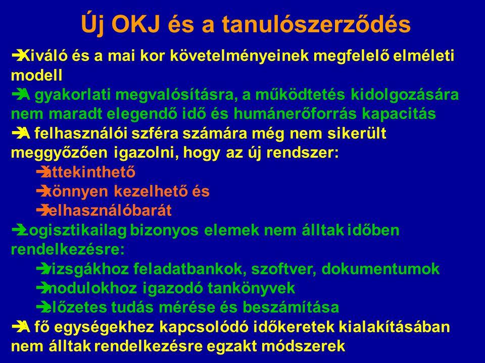 Új OKJ és a tanulószerződés  Kiváló és a mai kor követelményeinek megfelelő elméleti modell  A gyakorlati megvalósításra, a működtetés kidolgozására