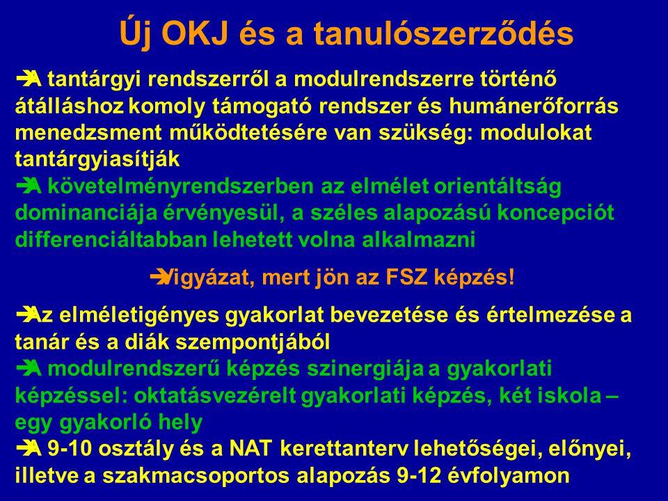 Új OKJ és a tanulószerződés  A tantárgyi rendszerről a modulrendszerre történő átálláshoz komoly támogató rendszer és humánerőforrás menedzsment műkö
