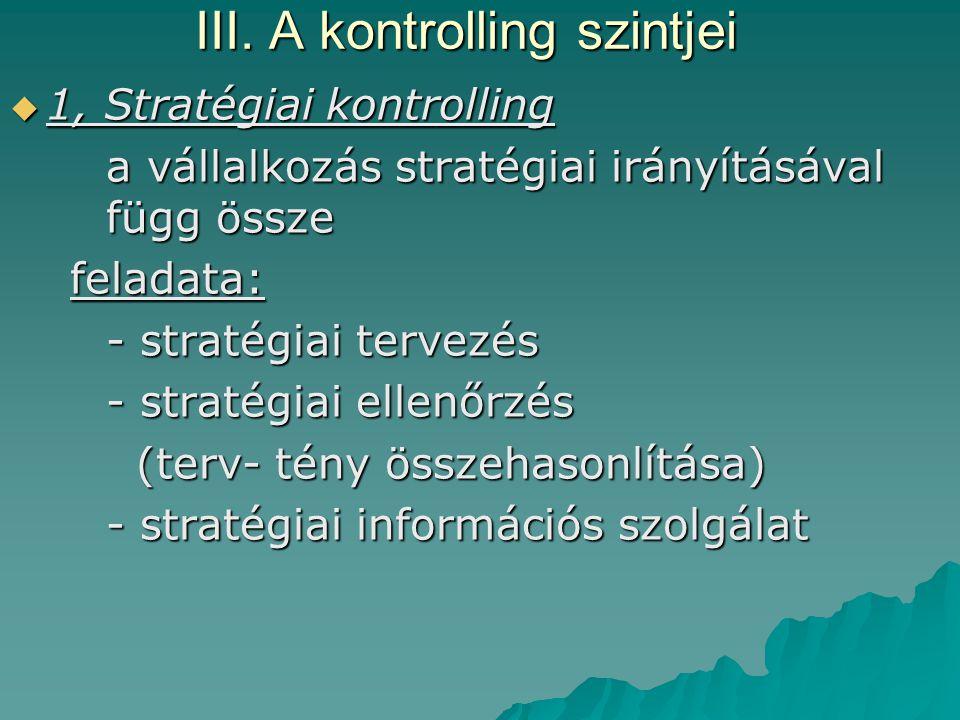 III. A kontrolling szintjei  1, Stratégiai kontrolling a vállalkozás stratégiai irányításával függ össze a vállalkozás stratégiai irányításával függ