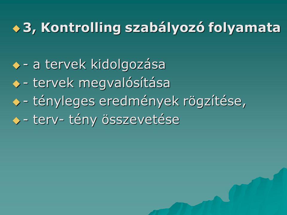  3, Kontrolling szabályozó folyamata  - a tervek kidolgozása  - tervek megvalósítása  - tényleges eredmények rögzítése,  - terv- tény összevetése
