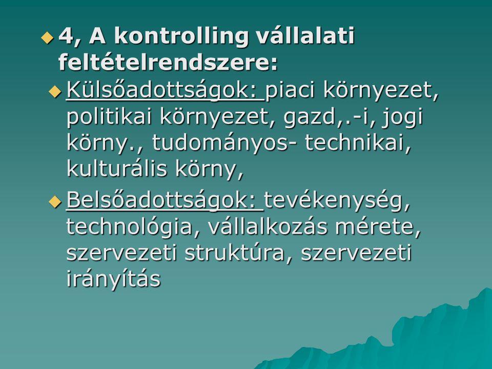  4, A kontrolling vállalati feltételrendszere:  Külsőadottságok: piaci környezet, politikai környezet, gazd,.-i, jogi körny., tudományos- technikai,