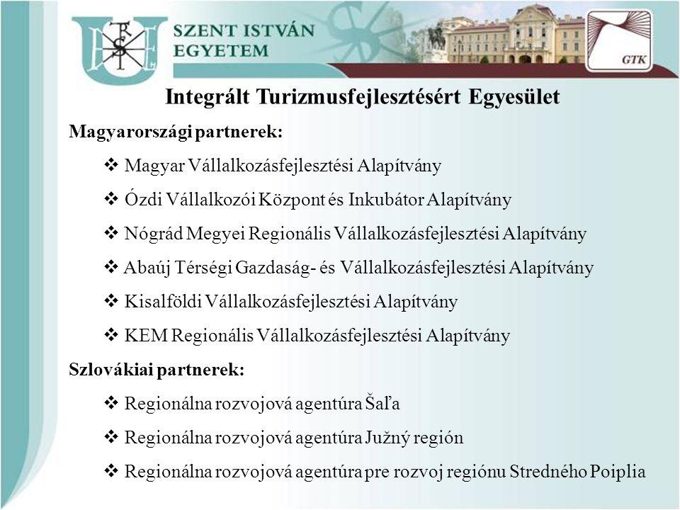Integrált Turizmusfejlesztésért Egyesület Magyarországi partnerek:  Magyar Vállalkozásfejlesztési Alapítvány  Ózdi Vállalkozói Központ és Inkubátor