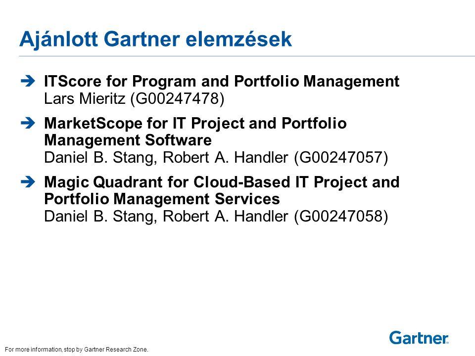 Ajánlott Gartner elemzések  ITScore for Program and Portfolio Management Lars Mieritz (G00247478)  MarketScope for IT Project and Portfolio Manageme