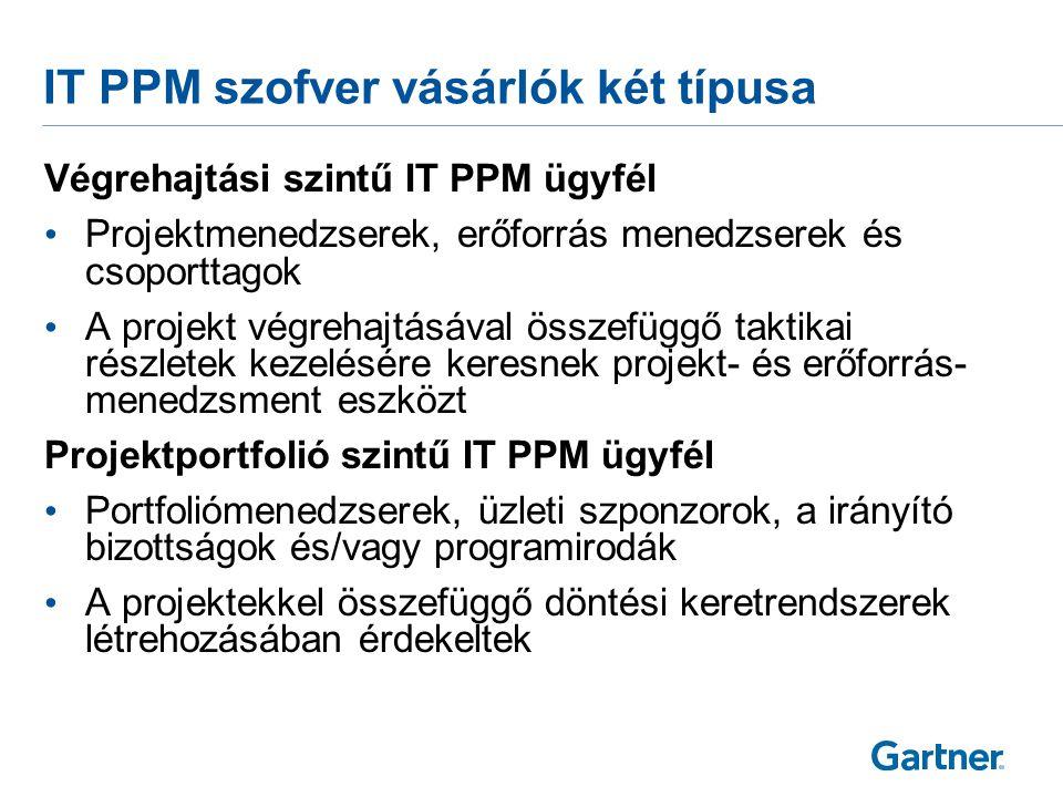 IT PPM szofver vásárlók két típusa Végrehajtási szintű IT PPM ügyfél • Projektmenedzserek, erőforrás menedzserek és csoporttagok • A projekt végrehajt