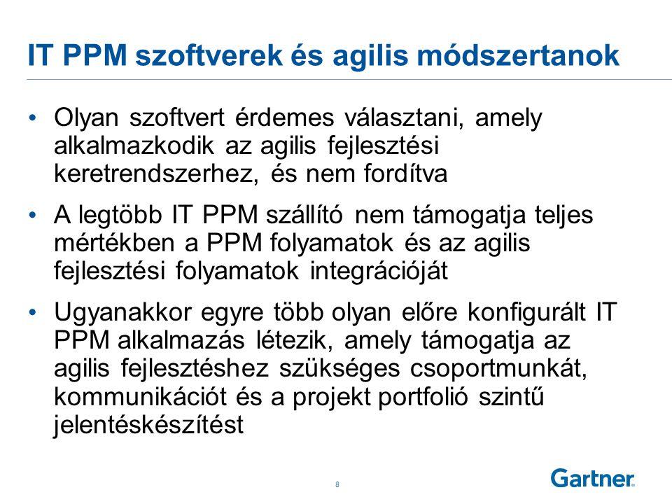 IT PPM szoftverek és agilis módszertanok • Olyan szoftvert érdemes választani, amely alkalmazkodik az agilis fejlesztési keretrendszerhez, és nem ford