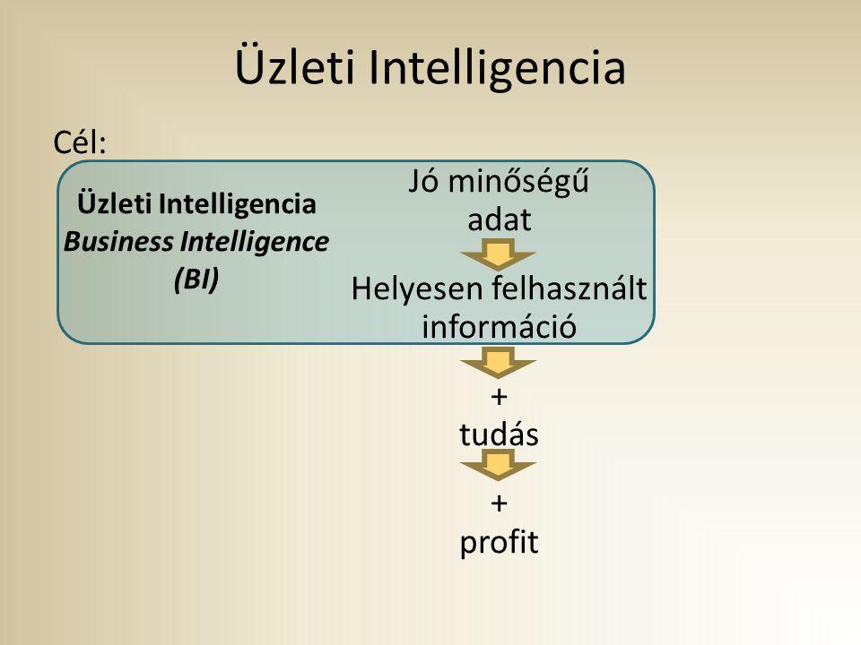 Üzleti Intelligencia Cél: Jó minőségű adat Helyesen felhasznált információ + tudás + profit Üzleti Intelligencia Business Intelligence (BI)