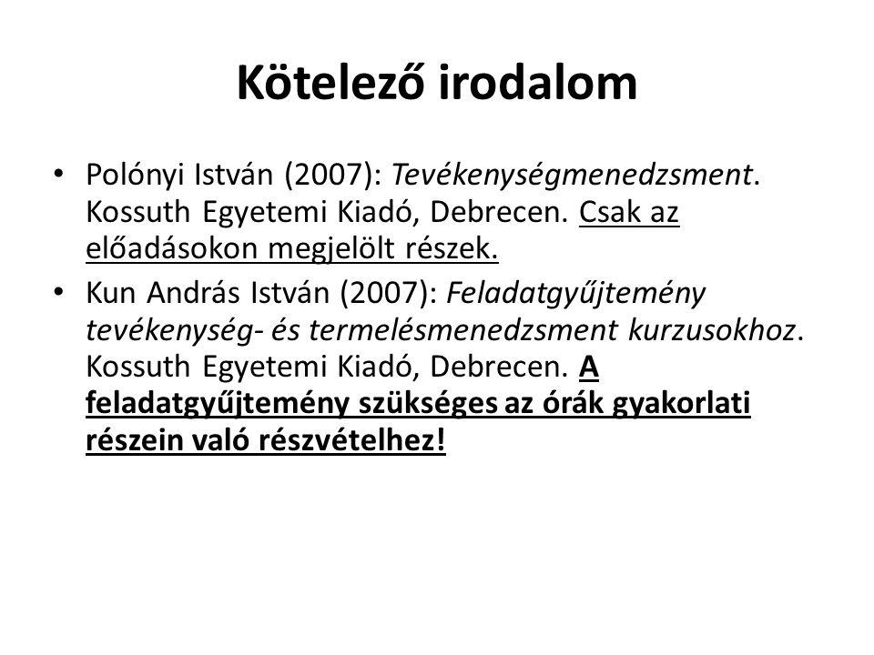 Kötelező irodalom • Polónyi István (2007): Tevékenységmenedzsment. Kossuth Egyetemi Kiadó, Debrecen. Csak az előadásokon megjelölt részek. • Kun Andrá