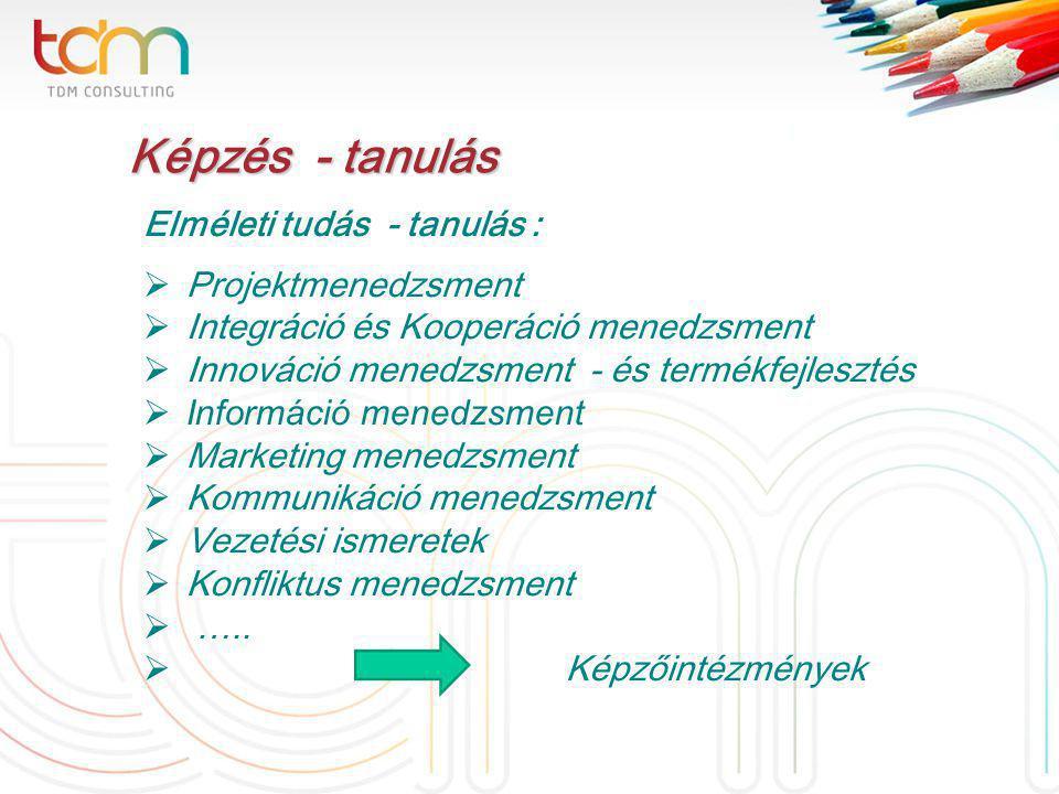 Képzés - tanulás Képzés - tanulás Elméleti tudás - tanulás :  Projektmenedzsment  Integráció és Kooperáció menedzsment  Innováció menedzsment - és termékfejlesztés  Információ menedzsment  Marketing menedzsment  Kommunikáció menedzsment  Vezetési ismeretek  Konfliktus menedzsment  …..