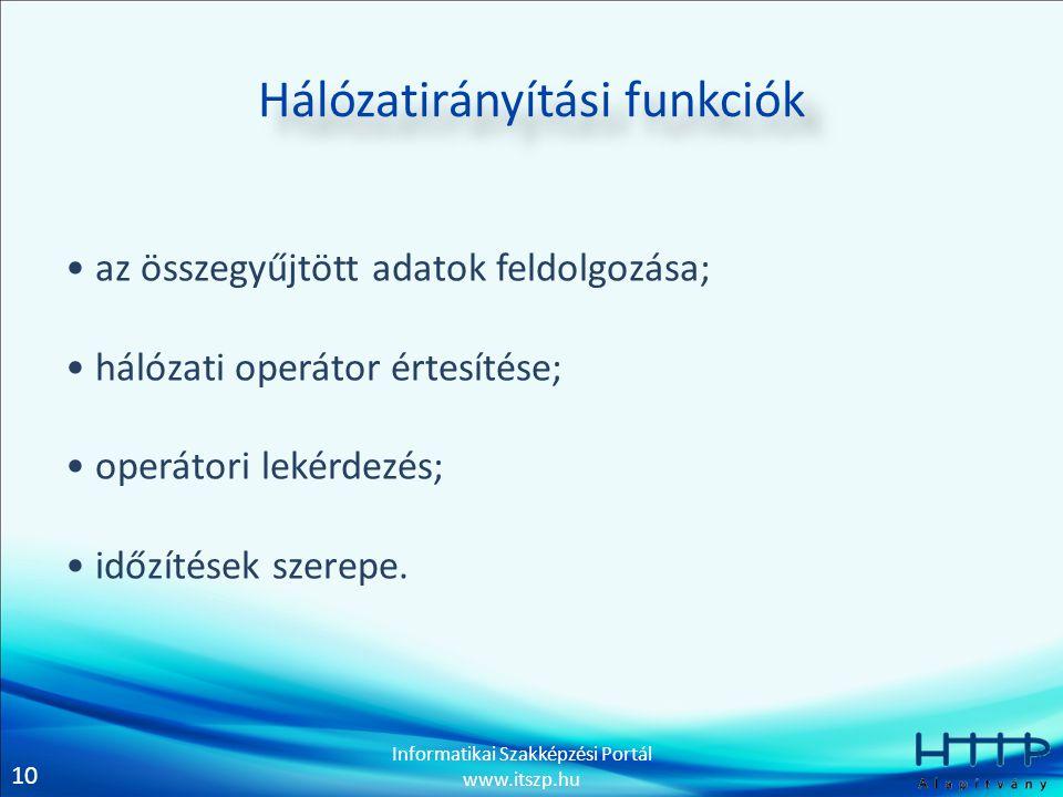 10 Informatikai Szakképzési Portál www.itszp.hu Hálózatirányítási funkciók • az összegyűjtött adatok feldolgozása; • hálózati operátor értesítése; • operátori lekérdezés; • időzítések szerepe.