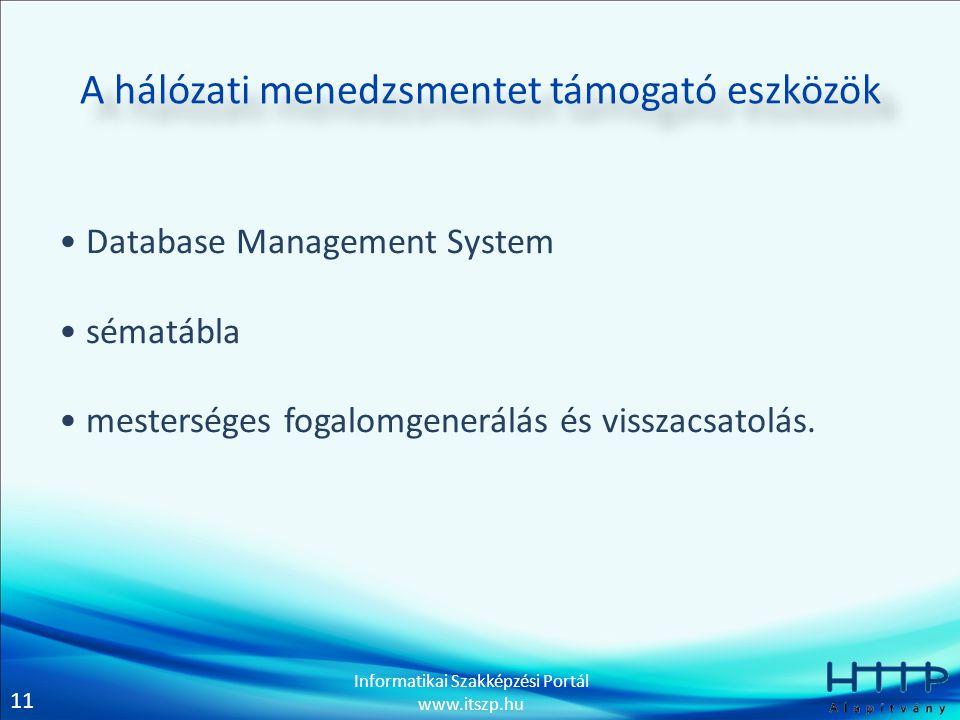 11 Informatikai Szakképzési Portál www.itszp.hu A hálózati menedzsmentet támogató eszközök • Database Management System • sématábla • mesterséges fogalomgenerálás és visszacsatolás.